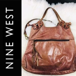 Nine West Leather Crossbody BOHO Sz M Vintage